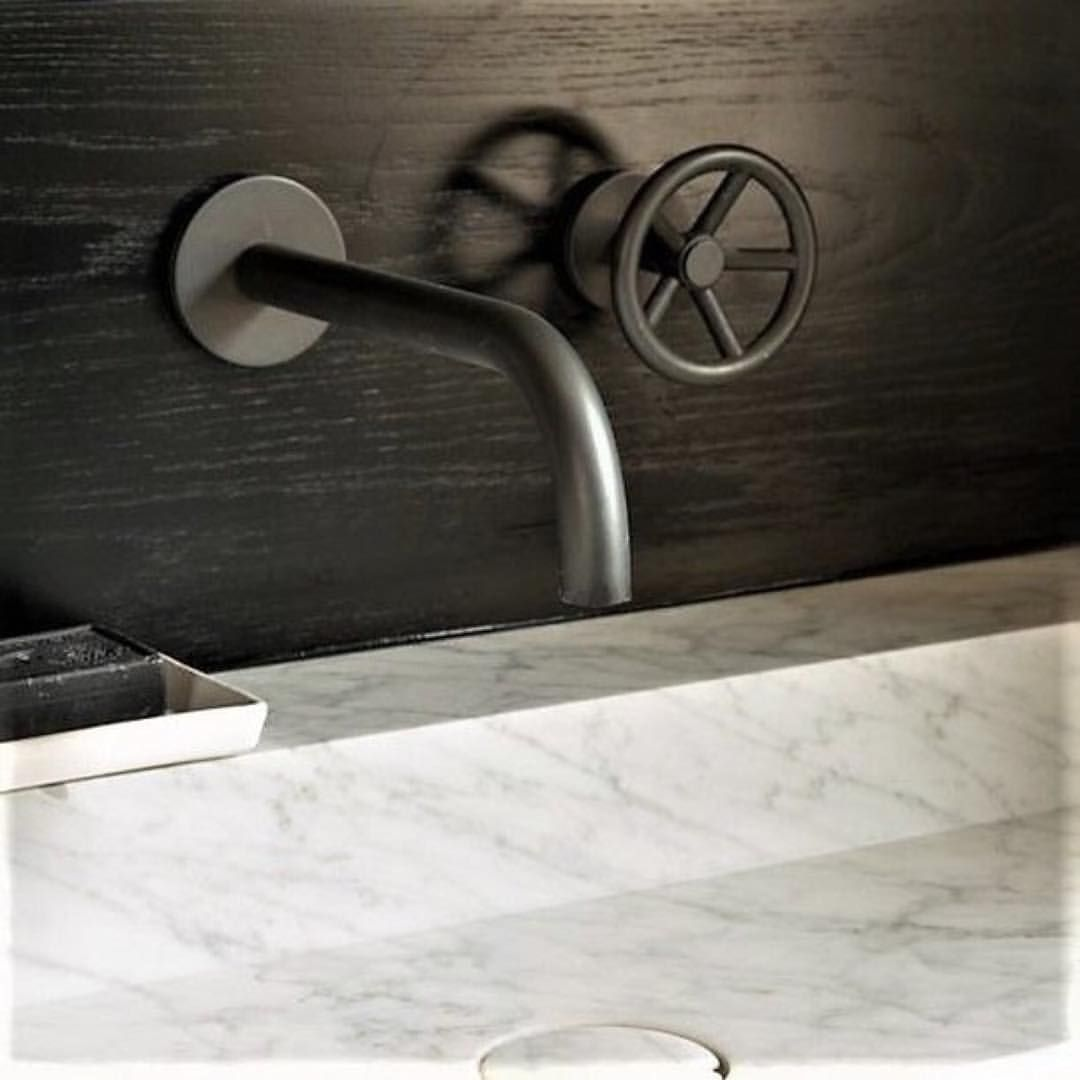 Brooklyn Creating A Statement In This Black Cloakroom By Pippapatondesign Thewatermarkcollection Br Industrial Bathroom Inspiration Cloakroom Faucet