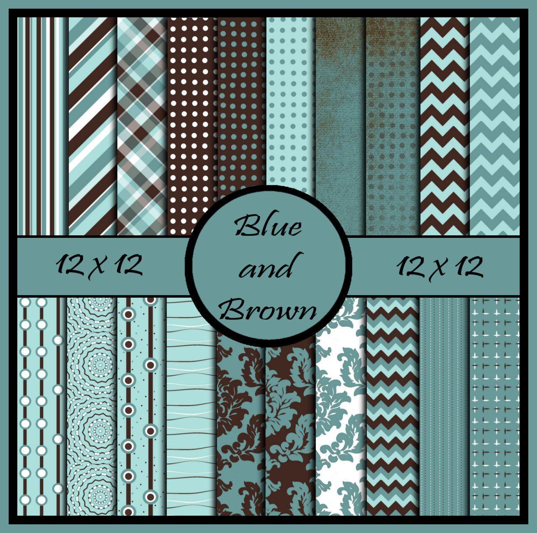 Blue And Brown Scrapbook Paper Coordinating Colors Teal Brown Chevron Damask Stripes Polka Dots Dig Brown Scrapbook Paper Digital Paper Digital Scrapbook Paper