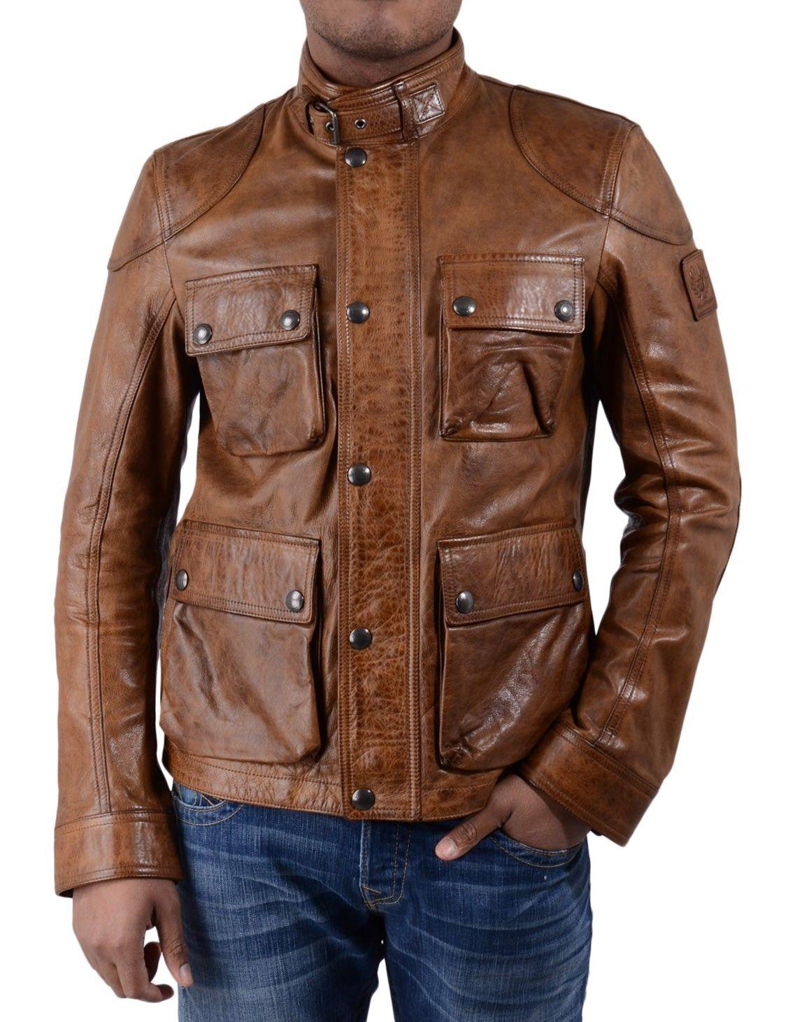3d38611c Belstaff Cognac Burgess Leather Blouson Jacket | Accent Clothing ...