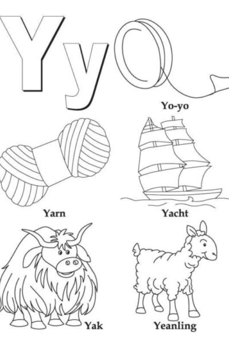 Letter Y Coloring In 2021 Letter Y Coloring Page Alphabet Coloring Pages Color Worksheets
