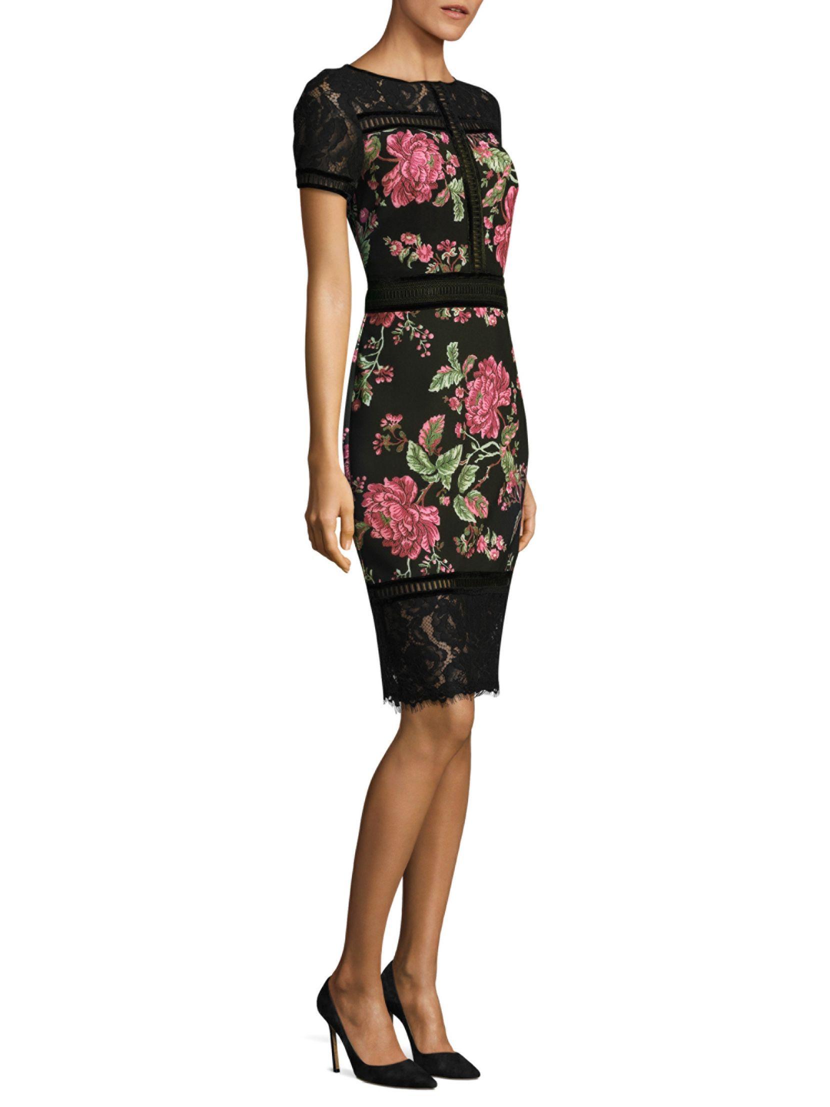 Tadashi Shoji Fl Neoprene Knee Length Dress