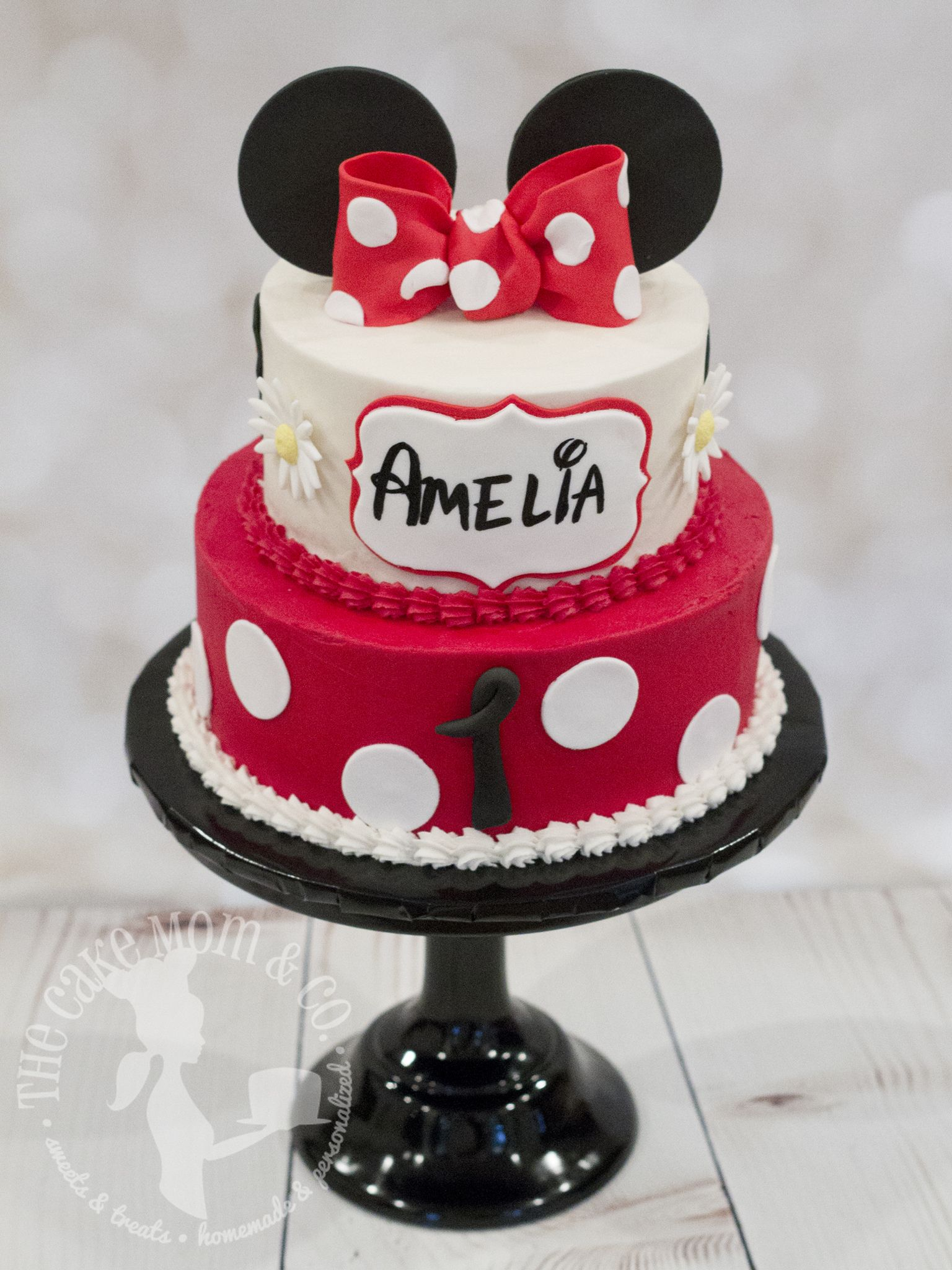 Groovy Girls First Birthday Red Polka Dot Minnie Mouse Cake With Hand Personalised Birthday Cards Veneteletsinfo