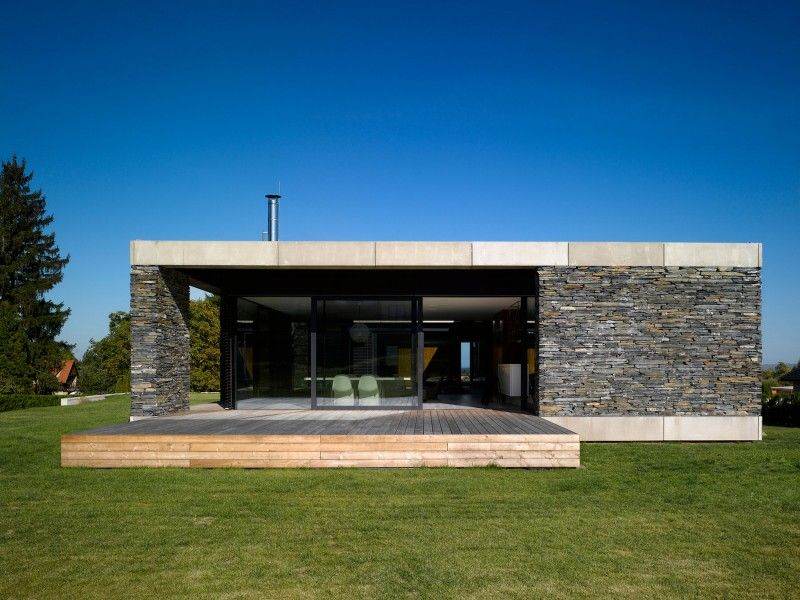 Stunning Modern Flat Roof House : Small Wooden Deck Stone Wall Small ...