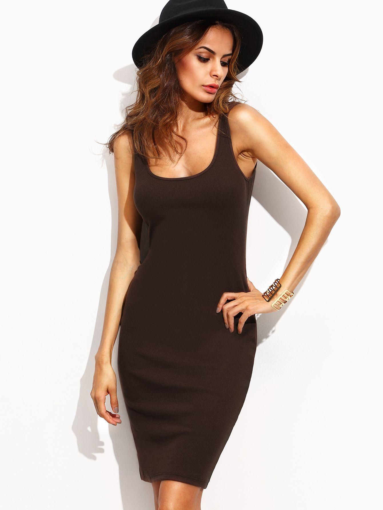 Adorewe shein dresses shein dark brown scoop neck sleeveless tank