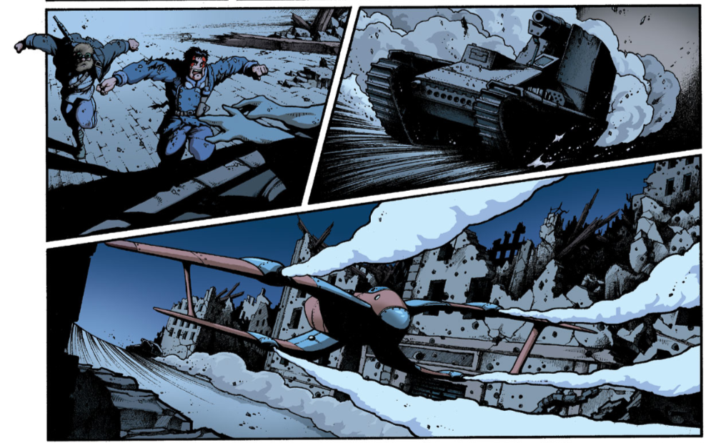 "Pictures from page 4 of ""Au nom du père"" La mandiguerre, tome IV. Text: JD Morvan.  Art: Stefano Tamiazzo #stefanotamiazzo #morvan #bd #comics #fumetti #delcourt #steampunk"