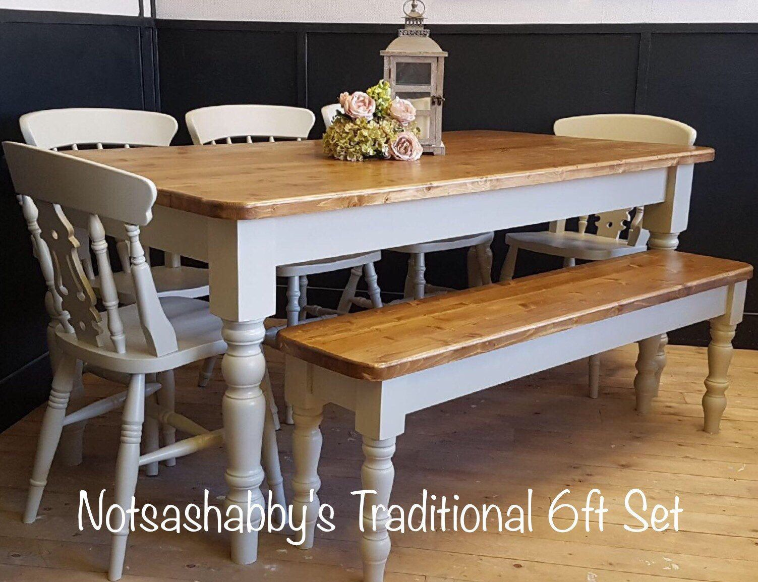 Admirable 6Ft New Handmade Pine Farmhouse Dining Table Bench And 5 Gmtry Best Dining Table And Chair Ideas Images Gmtryco