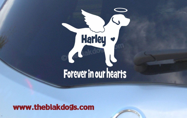 Car sticker custom made - Labrador Retriever Custom Angel Wings And Halo Silhouette Vinyl Sticker Personalized Car Decal By Blakdogs