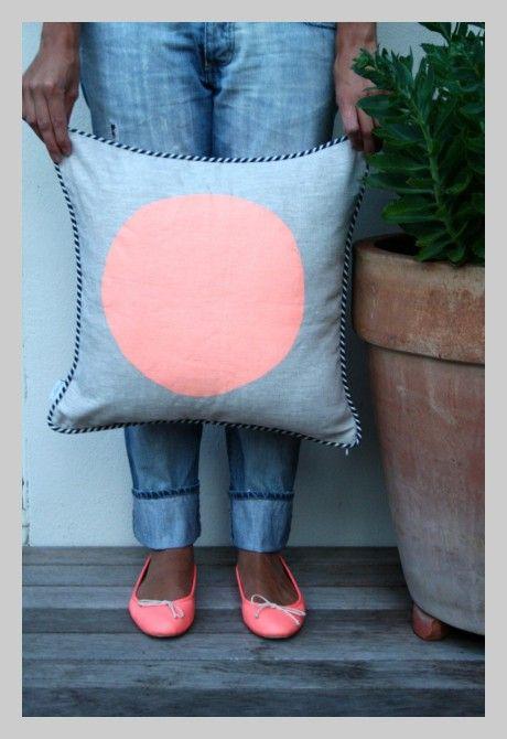 Neon Peach Shibori Cushion Cover