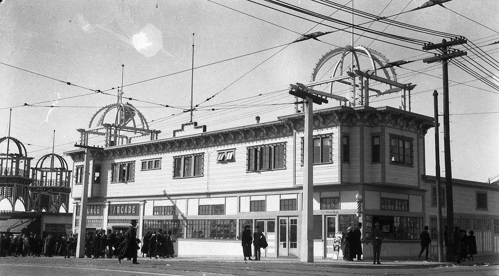 1920s SAN FRANCISCO PLAYLAND CHUTES-AT-THE-BEACH PALACE ARCADE~ANTIQUE NEGATIVE