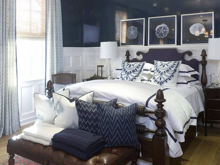 Charming Wainscoting Bedroom Ideas Part - 12: Bedroom With Dark Blue Walls U0026 White Wainscoting