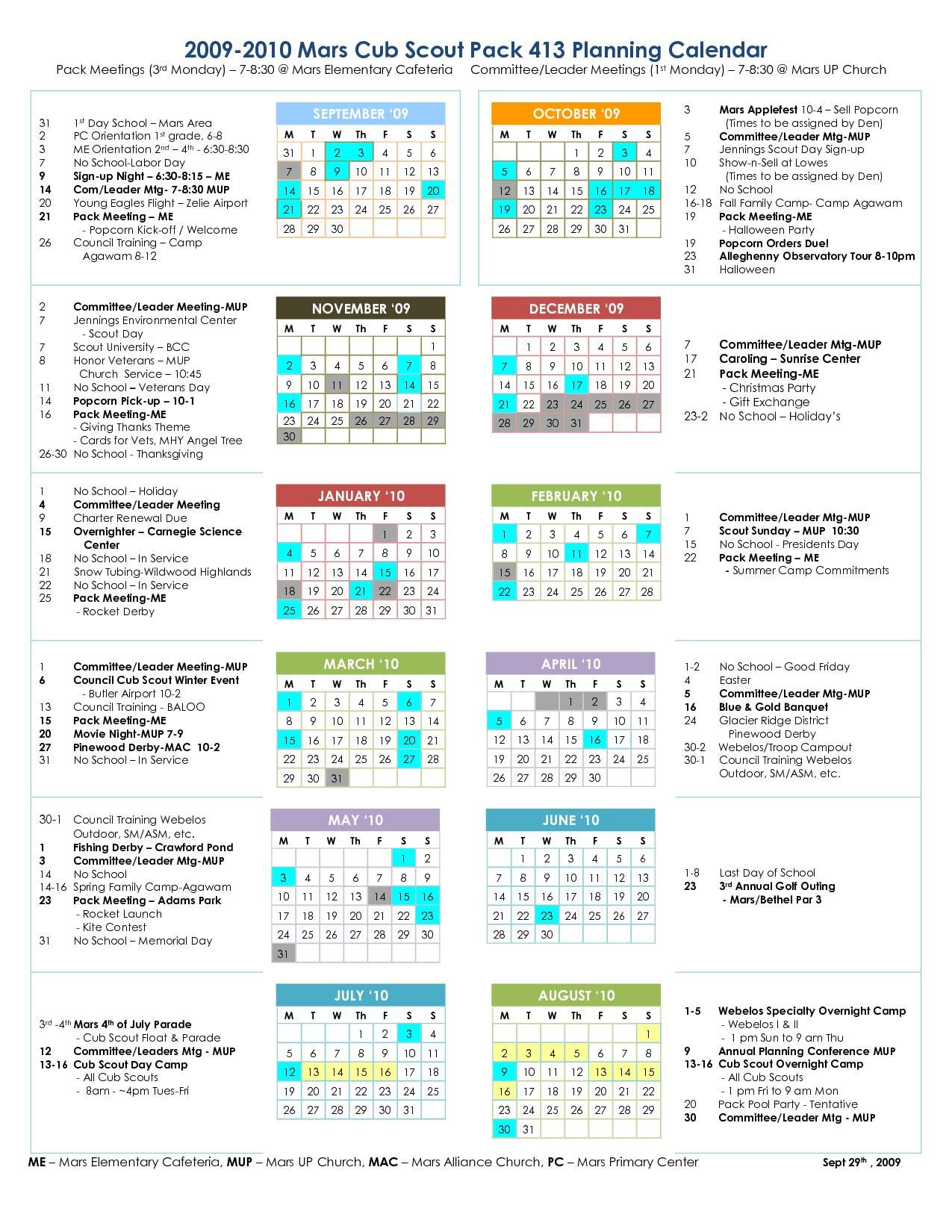 Cub Scout Planning Calendar Template 2021-2022 Pin on Scouting