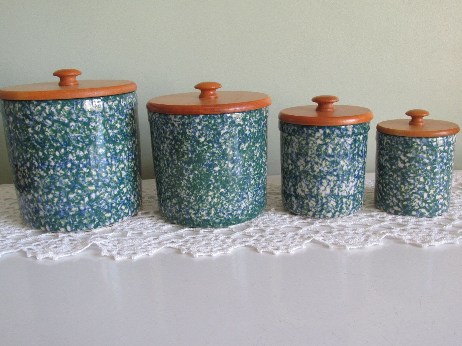 Tri Color Beautiful Kitchen Jar with Magnet Lid Hand Painted  Stoneware