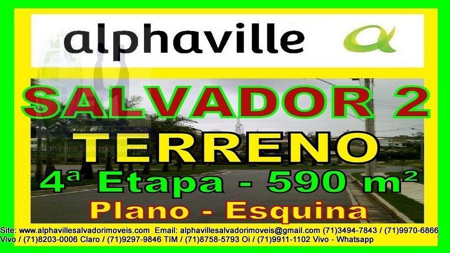 Terreno a venda em Alphaville Salvador 2, Plano, 4 ª Etapa, 590 m². Terreno residencial, todo plano, de esquina, em ilha, com 19 metros de frente, bem localizado no setor 04.