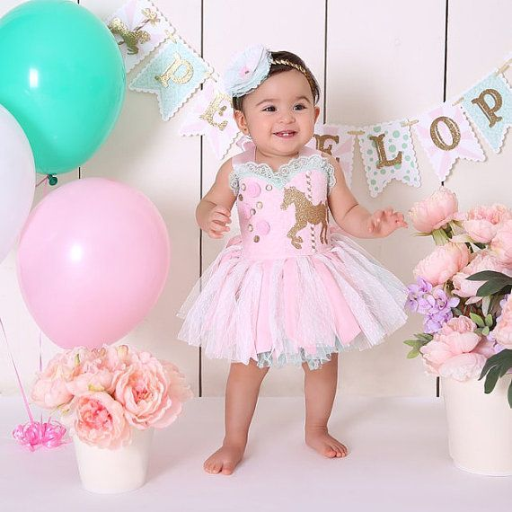 Pink & Mint Carousel themed dress ONLY,9-12mo/ free headband ...