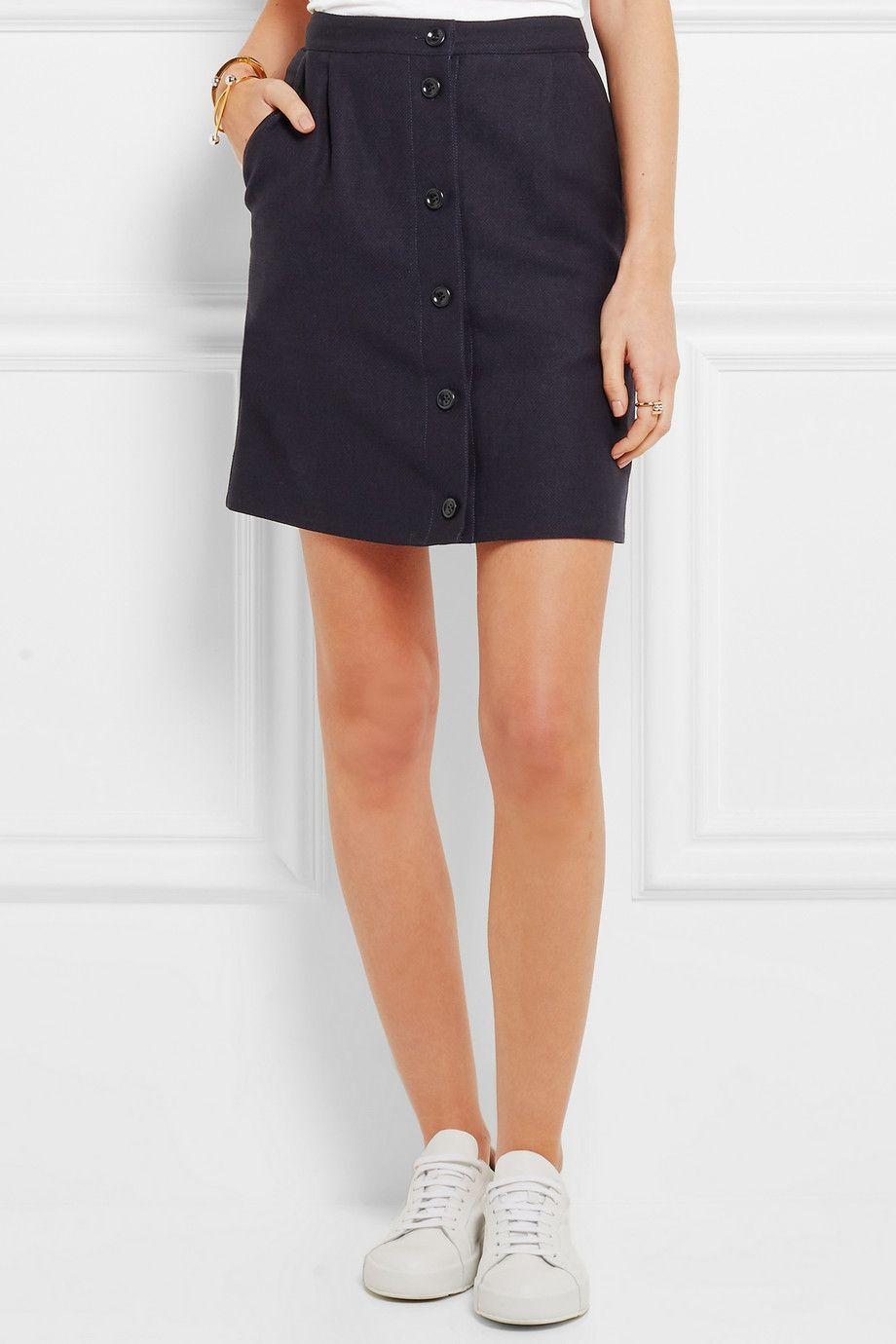 A.P.C. Atelier de Production et de Création | Monica linen and cotton-blend mini skirt | NET-A-PORTER.COM