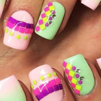 Creative Nail Designs - Strip Nail Art - #pink, #silver, #strip ...