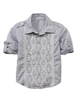 Striped convertible popover shirt   Gap