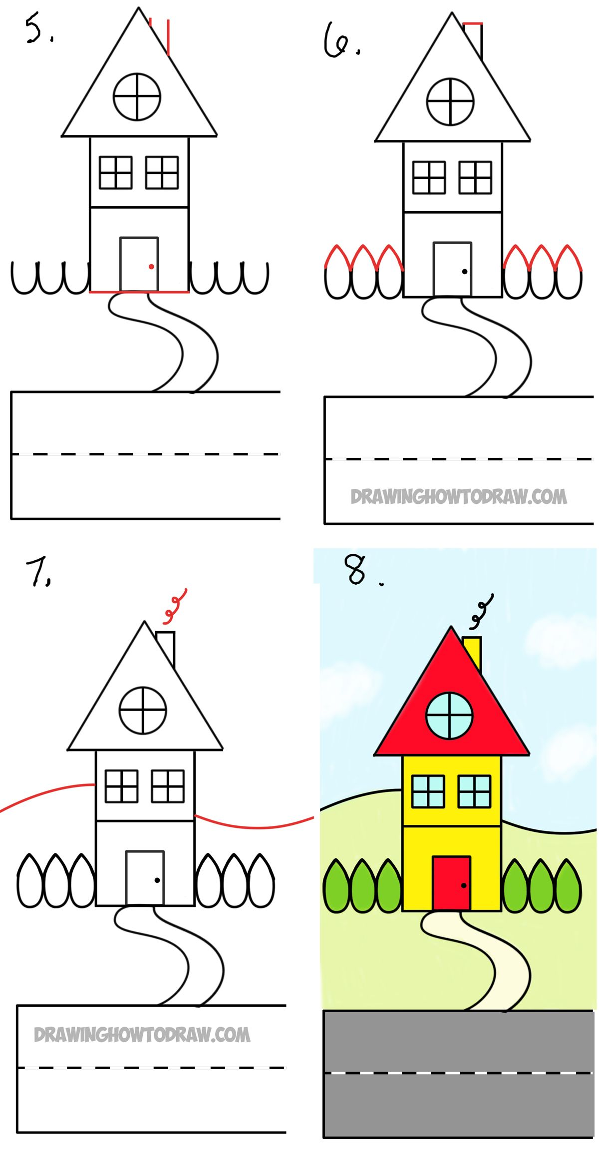 How to draw a cartoon house from the word house an easy for Building a home step by step