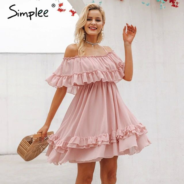 Simplee Elegant ruffle off shoulder women dress Spaghetti strap chiffon summer dresses Casual holiday female pink short sundress #shortsundress