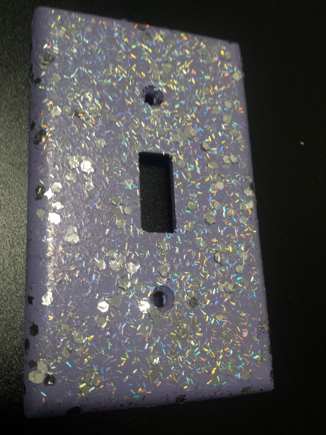 Silver Light Switch Covers Shiny Purple Lavender  Holographic Opal Bling & Silver Glitter