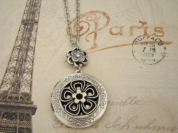 Silver Flower Locket Necklace Wedding Bride by BackstreetCreations, $31.00