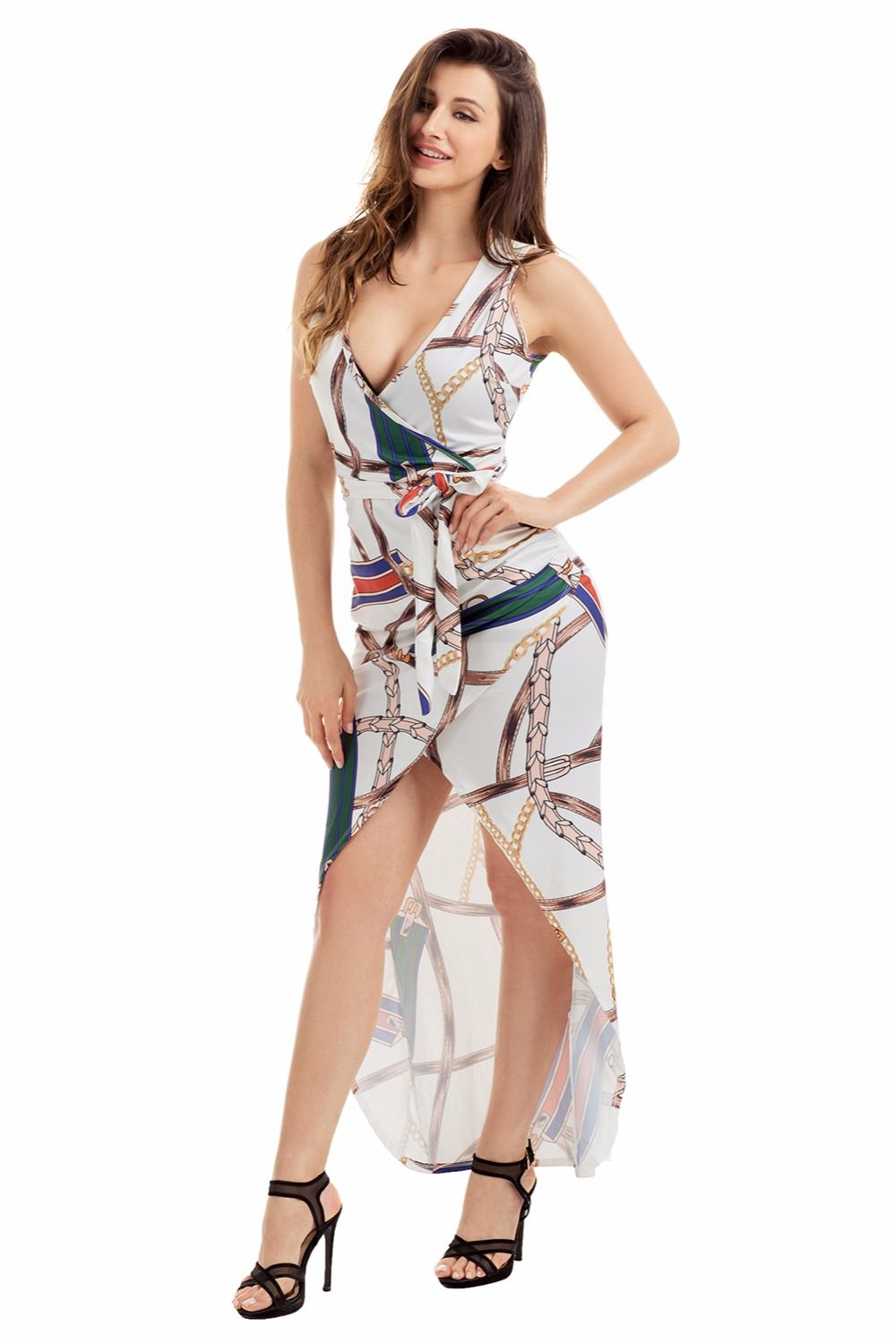 Free Shipping] Buy Best Deep Plunge V neck Boho Dress Summer Beach ...