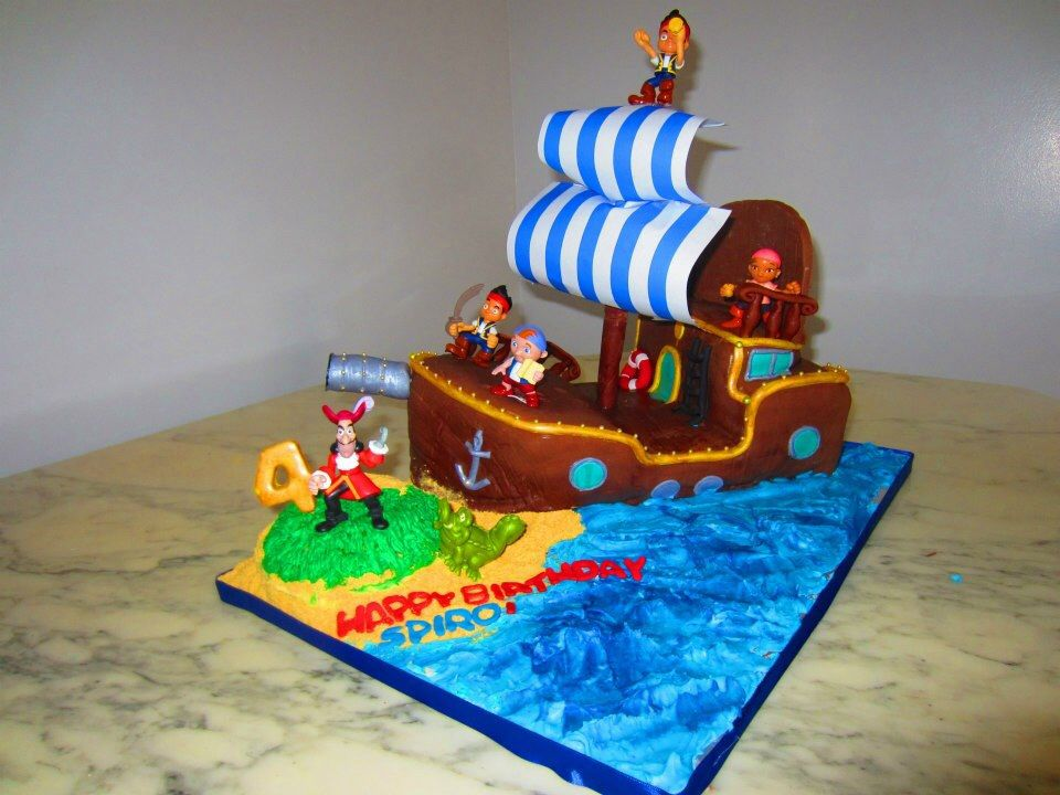 Enjoyable Peter Pan Cake Captain Hook Ship Cake Peter Pan Cakes Cake Personalised Birthday Cards Arneslily Jamesorg