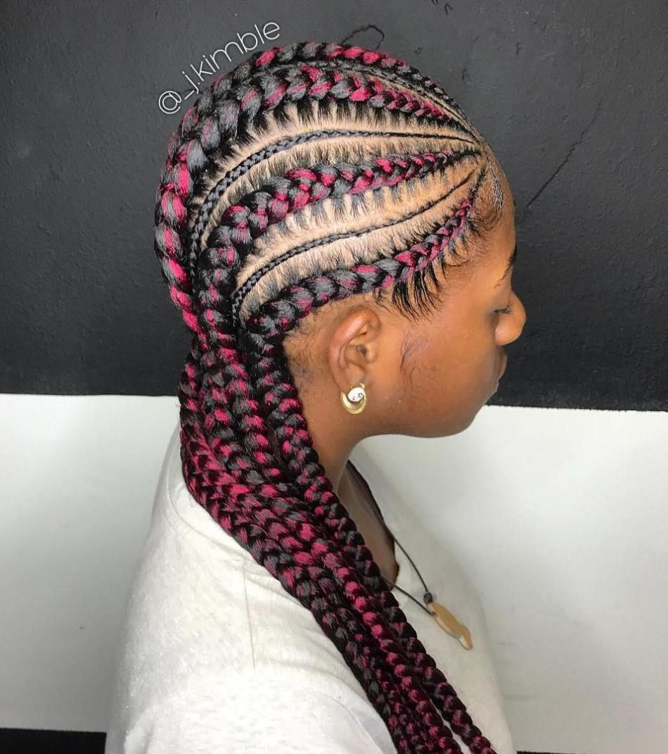 Thick And Thin Cornrows With Pink Streaks   Cornrow hairstyles, Braided hairstyles for black ...