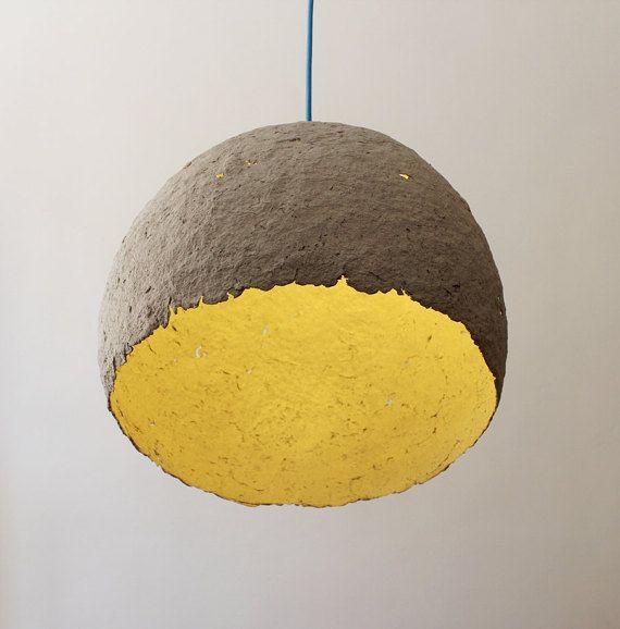 Lampe Papier Mache #14: Lampe De Papier Mâché Globe Lampe Luminaire Par CreaReDesign