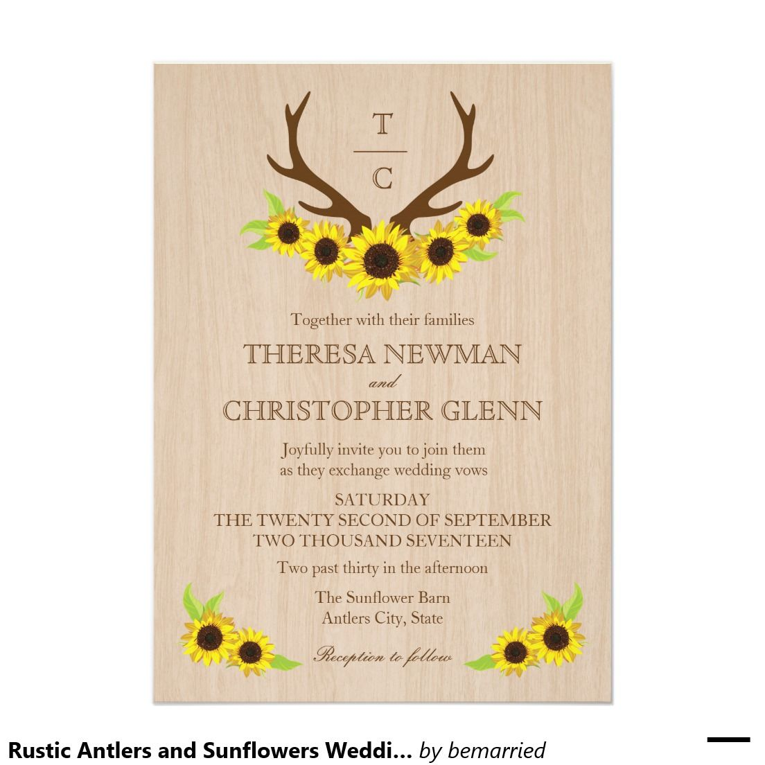 Rustic Antlers And Sunflowers Wedding Invitation: Sunflower Wedding Invitations Rustic Antlers At Reisefeber.org