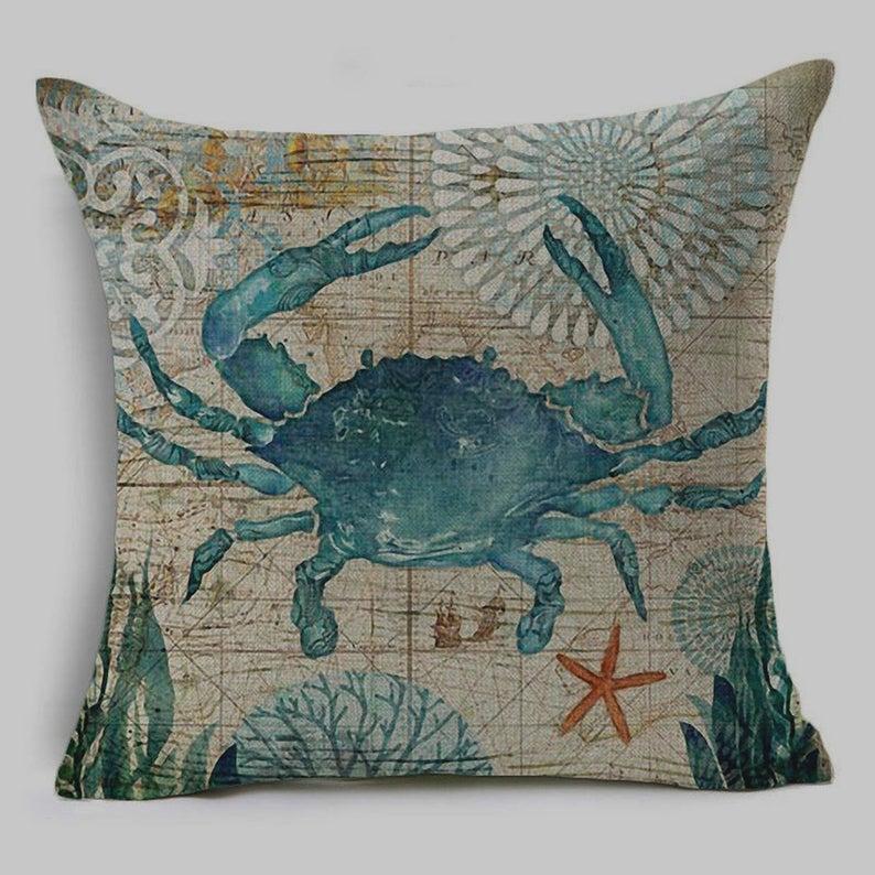 Blue Crab Pillow 17 x 17 Blue Crab & Starfish Ocean Beach Variant Sea Design