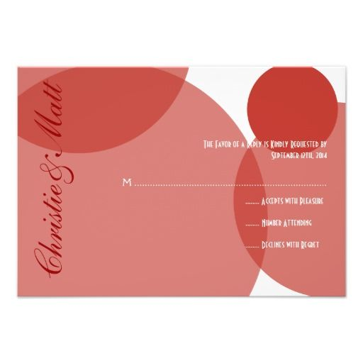 Red Champagne Bubbles Modern Wedding RSVP Personalized Invite