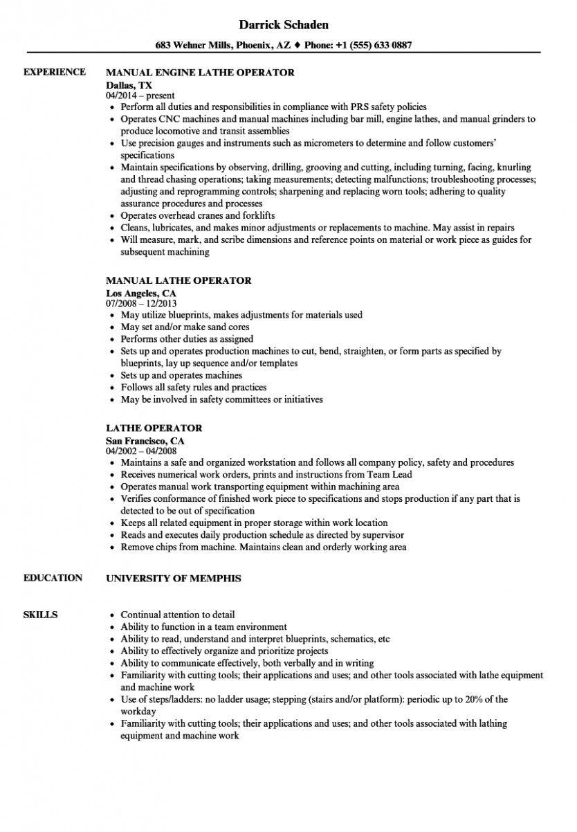 15 Machine Operator Resume Pattern in 2020 Resume