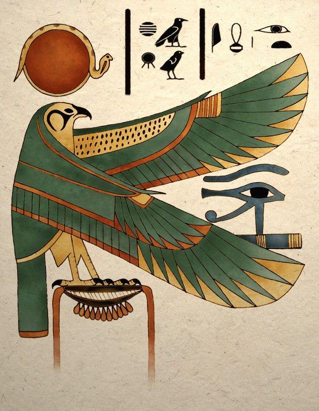 Ancient Egyptian Art Print Horus Falcon Wall Decor Posters
