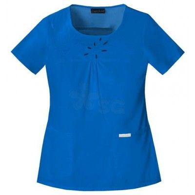 Cute embroidered royal blue medical scrub nursing top from Cherokee Workwear