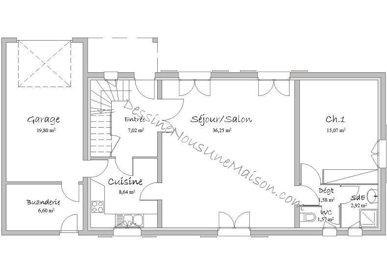 Plan de maison traditionnelle gratuit, plan maison plain pied, 3, 4 - plans de maison gratuit plain pied
