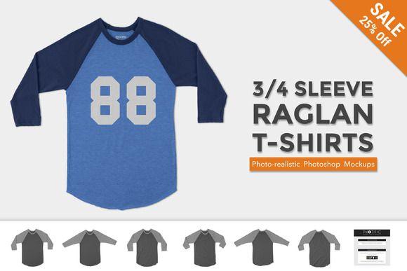 Download 3 4 Sleeve Raglan Shirt Mockups Shirt Mockup Clothing Mockup T Shirt Photo