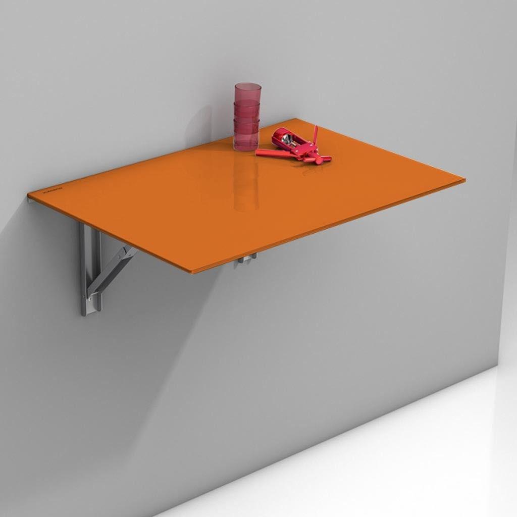 Mesa abatible Vulcano con sobre de cristal en color naranja. Es una ...