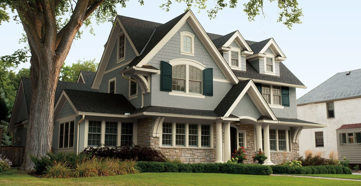 Behr Exterior House Colors Hunters Hollow, Bell Tower And Black Evergreen