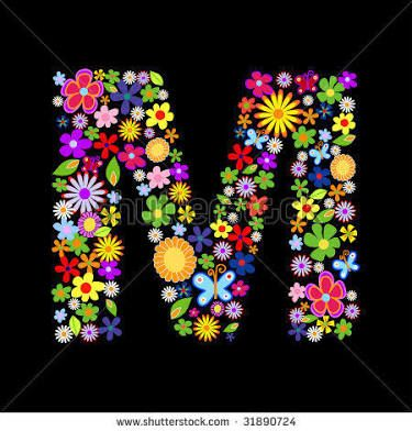 letter m with flowers ile ilgili görsel sonucu   Vector ...