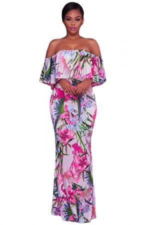 6f7e44e1a482 White Pink Floral Print Off Shoulder Maxi Boho Dress