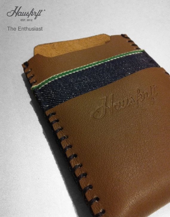 The Enthusiast iphone 4 genuine leather/Italian Candiani green selvedge denim sleeve wallet