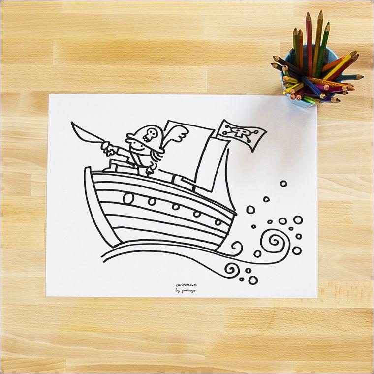 Lámina pirata para imprimir y colorear, de Chispum | Free Printables ...