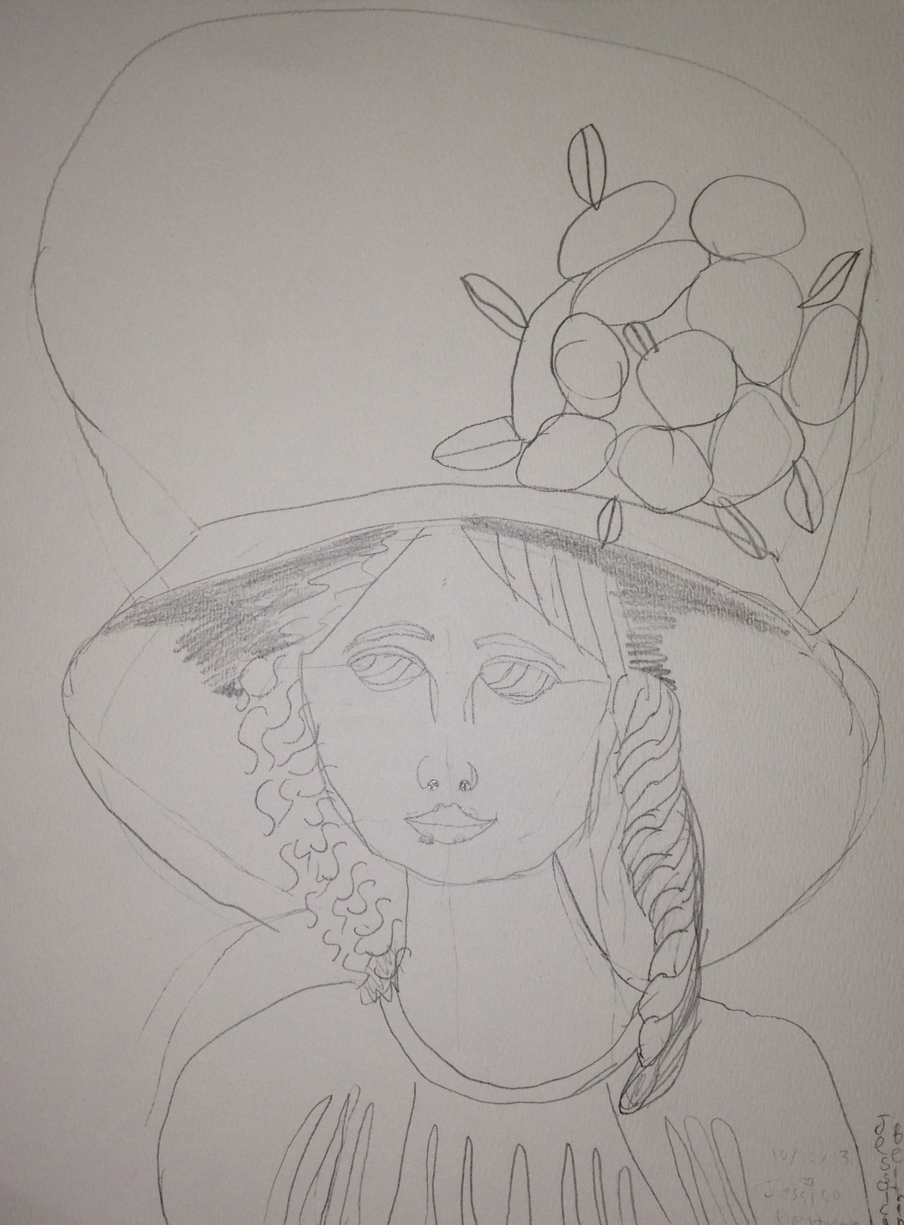 Pencil drawing based on mary cassatts girl with a large hat pencil on watercolor paper jessica 4th grade