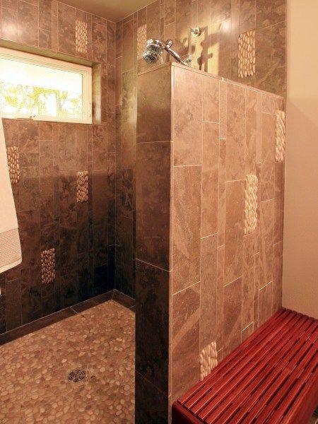 Walk In Stall No Glass Or Door Bathroom Remodel Shower Shower