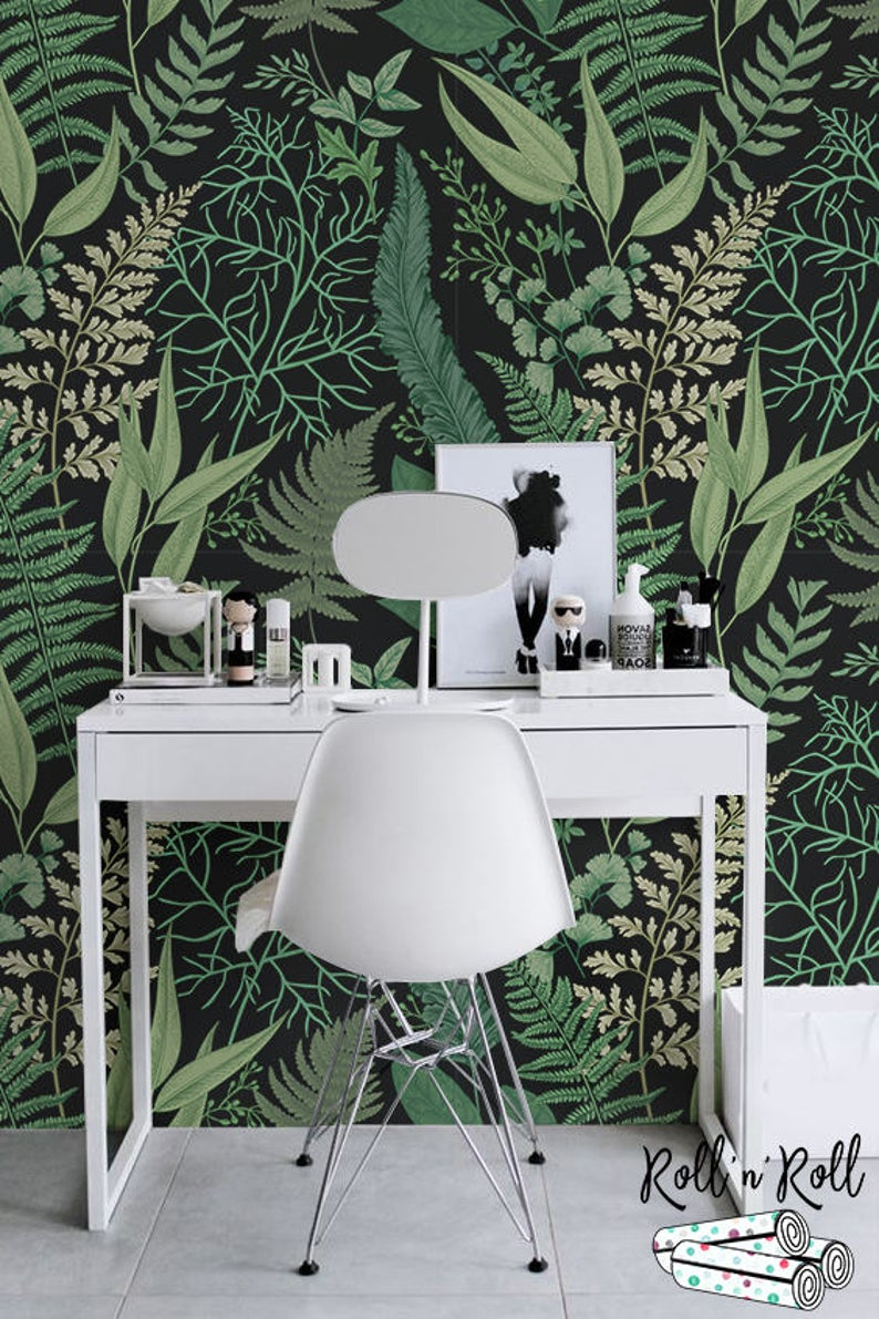 Herbs Dark Floral Wallpaper Botanical Wallpaper Removable Etsy Green Wall Decor Green Floral Wallpaper Floral Wallpaper