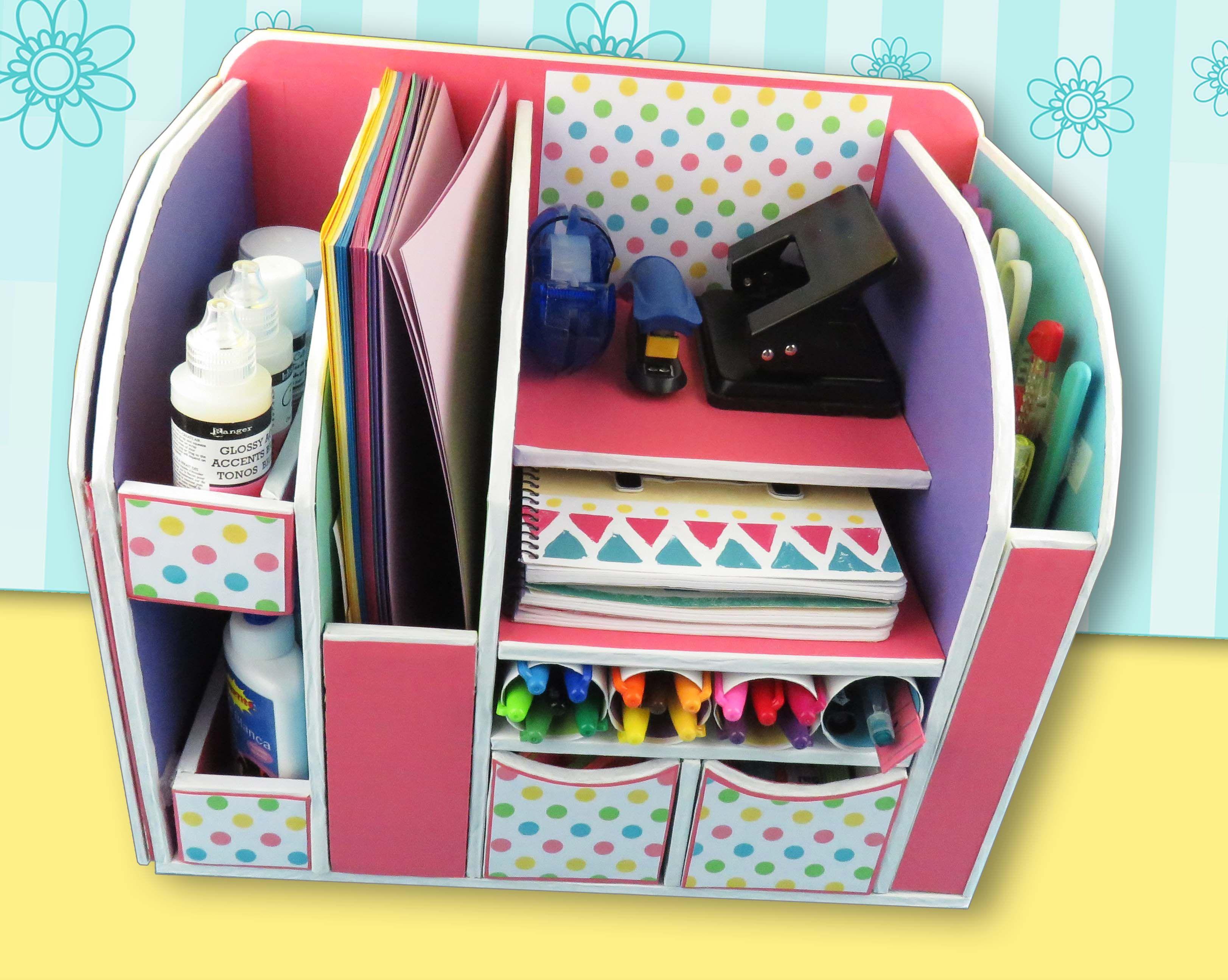 Organizador de escritorio en cart n manualidades apasos - Manualidades en carton ...