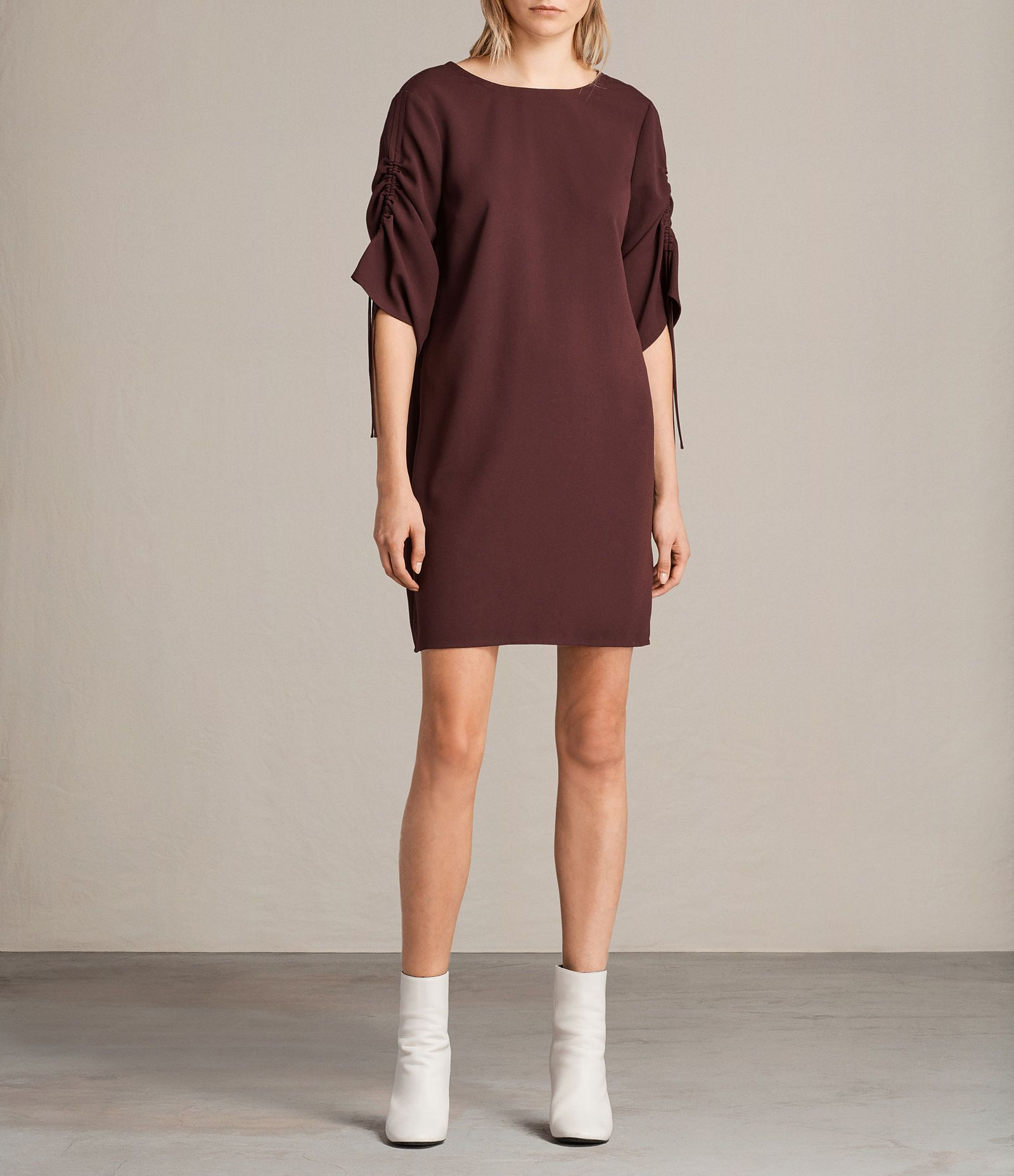 ALLSAINTS UK: Womens Evie Dress (BORDEAUX RED) | šití šaty