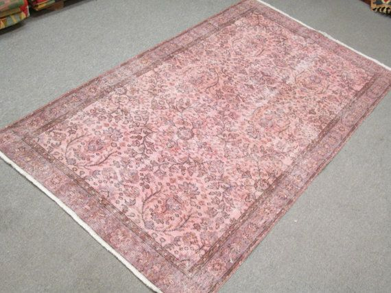 Vintage Turkish Oushak Wool Handmade Pale Pink Overdyed Rug Soft