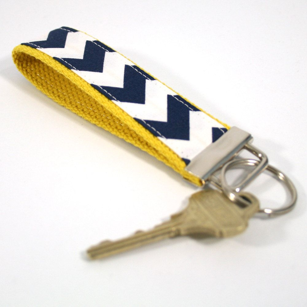 Chevron Key Fob Navy and White with Your by krissyannedesigns